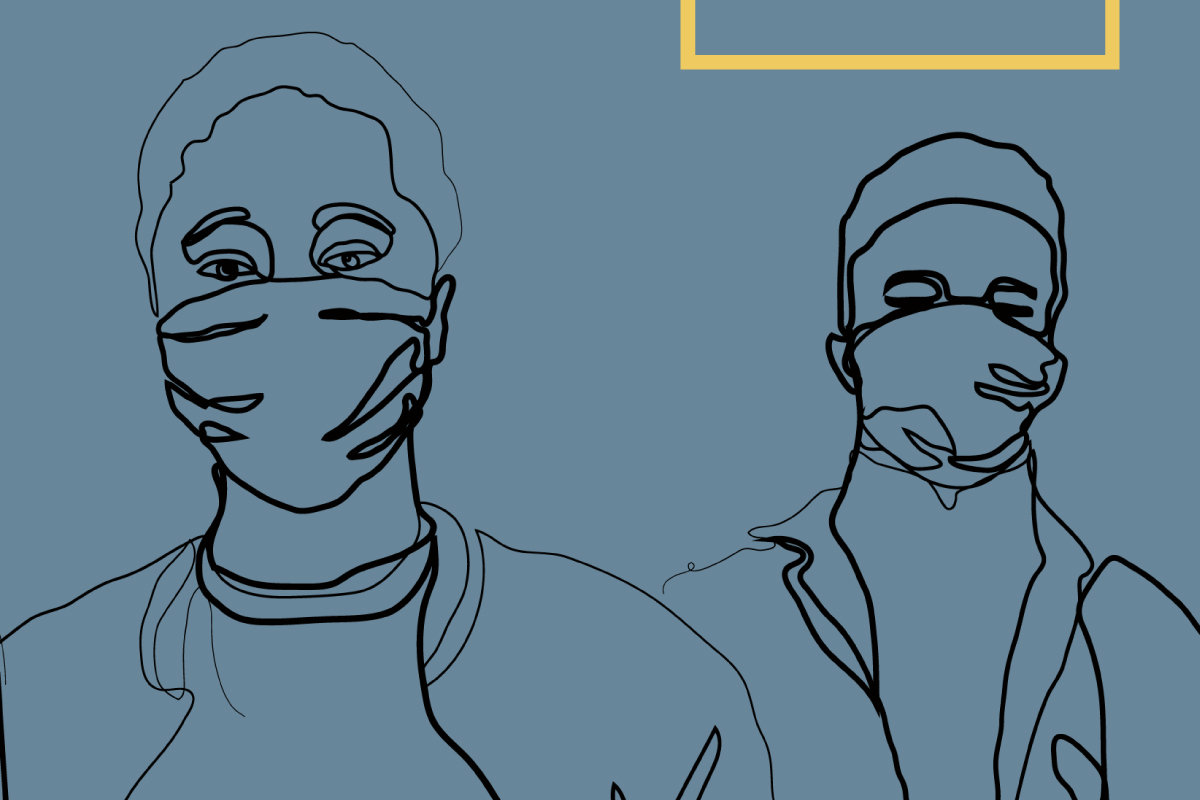 Cropped illustration showing two people in makes, from the cover of A quantitative analysis of the emergency funding to the UK Black and Minority Ethnic Voluntary Sector During Covid-19.