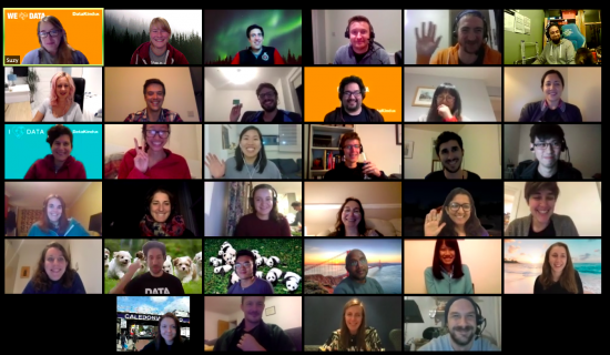Screenshot showing 34 smiling faces looking into their screens, as volunteers support Sobus and Citizens Advice Lewisham at a DataDive in September 2020