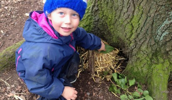 A small boy is creating a nest of plant materials at the base of a tree. He is wrapped up warmly and smiling at the camera.