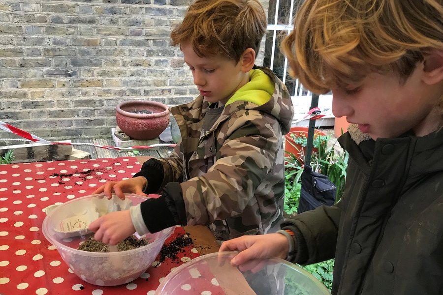 Two boys, Charles and Frederick, making seed bombs