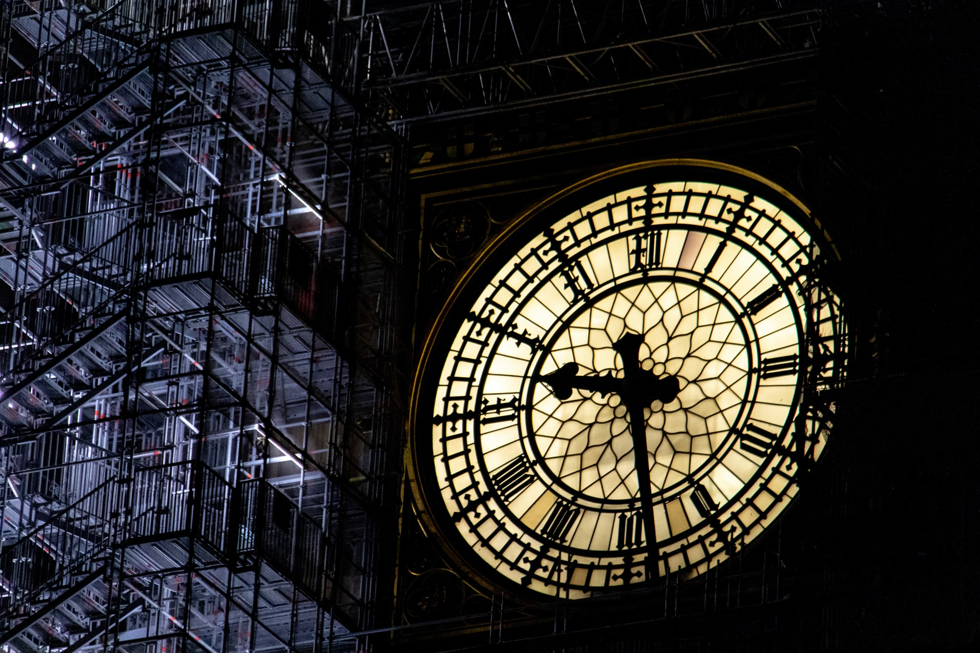 Close up on Big Ben's clock and scaffolding